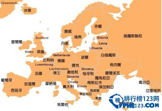 欧洲国家面积排名