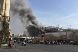 虹口足球场火灾,因内馆施工起火(或影响申花比赛)